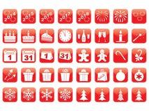 Reeks Nieuwjaarpictogrammen Royalty-vrije Stock Afbeeldingen