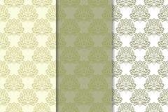 Reeks olijf groene bloemenachtergronden Naadloze patronen Stock Foto's