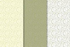 Reeks olijf groene bloemenachtergronden Naadloze patronen Royalty-vrije Stock Foto