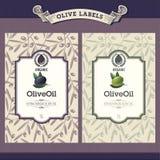 Reeks olijfolieetiketten vector illustratie