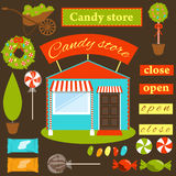 Reeks om een snoepwinkel te creëren Stock Foto's