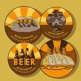 Reeks onderleggers voor glazen voor bierglas Royalty-vrije Stock Afbeelding