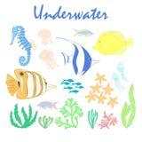 Reeks onderwaterontwerpelementen Stock Afbeeldingen