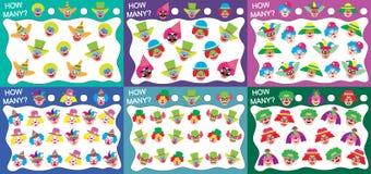 Reeks onderwijsspelen voor jonge geitjes 6 in 1: Hoeveel clowns? Vectorillustratie royalty-vrije illustratie