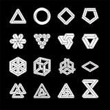Reeks onmogelijke vormen Optische illusie Vectordieillustratie op wit wordt geïsoleerd Heilige Meetkunde Witte vormen Op a stock illustratie