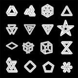 Reeks onmogelijke vormen Optische illusie Vectordieillustratie op wit wordt geïsoleerd Heilige Meetkunde Witte vormen Op a royalty-vrije illustratie