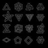 Reeks onmogelijke vormen Optische illusie Vectordieillustratie op wit wordt geïsoleerd Heilige Meetkunde Witte lijnen op a stock illustratie