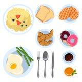 Reeks ontbijtpunten in vlakke van de de menings Verschillende ochtend van de krabbelstijl hoogste de schotels Vectorillustratie vector illustratie