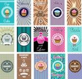 Reeks ontwerp elemnt pictogrammen voor baksel en bakkerij Royalty-vrije Stock Afbeelding