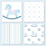 Reeks ontwerpelementen van baby thema-naadloze patronen Het schommelen h Royalty-vrije Stock Afbeelding