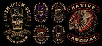 Reeks ontwerpen met schedels in verschillende stijlen stock illustratie