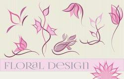 Reeks ontwerpen van het bloemembleem Stock Fotografie