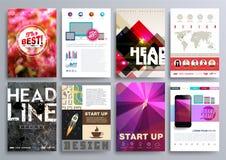 Reeks Ontwerpmalplaatjes voor Brochures, Vliegers, Mobiele Technologi Royalty-vrije Stock Afbeeldingen