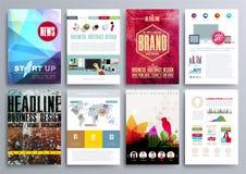 Reeks Ontwerpmalplaatjes voor Brochures, Vliegers, Mobiele Technologi Royalty-vrije Stock Foto's