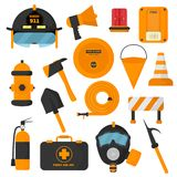 Reeks ontworpen brandbestrijderselementen De gekleurd pictogrammen van de brandweerkorpsnoodsituatie en het gevaarsmateriaal van  Stock Afbeeldingen