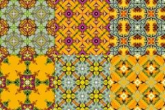 Reeks oosterse stijl naadloze ornamenten Stock Foto's