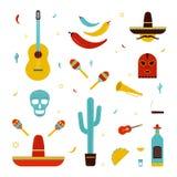 Reeks op een thema van Mexico Verschillende Mexicaanse heldere pictogrammeninzameling: maracas, cactus, hoed, gitaar, masker, pep stock illustratie