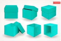 Reeks open en gesloten karton groenachtig blauwe dozen met deksels of dekking Front View Pakket op Witte Achtergrond wordt geïsol stock illustratie