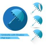 Reeks open paraplupictogrammen in vlakke stijl met verschillende schaduw Royalty-vrije Stock Foto's
