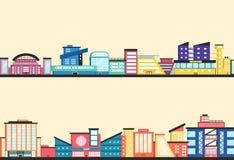 Reeks openbare gebouwen Moderne architectuur Vlakke vectorillustratie stock illustratie