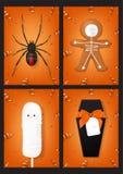 Reeks oranje affiches van Halloween Stock Foto's