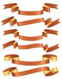 Reeks oranje linten Royalty-vrije Stock Afbeeldingen