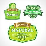 Reeks organisch-bio-natuurlijke etiketten Stock Afbeeldingen