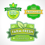 Reeks organisch-bio-natuurlijke etiketten Stock Fotografie