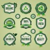 Reeks organische en natuurlijke kentekens en etiketten Stock Foto