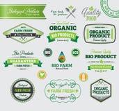 Reeks organische kentekens en etiketten Royalty-vrije Stock Foto