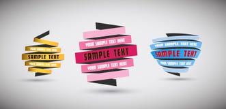 Reeks origamidocumenten met plaats voor uw eigen tekst Royalty-vrije Stock Foto