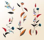 Reeks originele bloemen voor ontwerp Stock Foto's