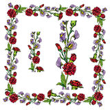 Reeks ornamenten - decoratief hand getrokken bloemengrens en kader Stock Foto