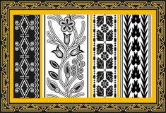Reeks oude Amerikaanse Indische bloemenpatronen Stock Afbeelding