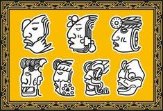Reeks oude Amerikaanse Indische gezichtspatronen Royalty-vrije Stock Afbeeldingen
