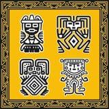 Reeks oude Amerikaanse Indische menselijke patronen Royalty-vrije Stock Afbeeldingen