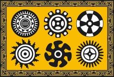 Reeks oude Amerikaanse Indische patronen Royalty-vrije Stock Afbeelding