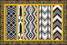 Reeks oude Amerikaanse Indische patronen Stock Afbeeldingen
