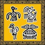 Reeks oude Amerikaanse Indische patronen. Vogels Stock Afbeeldingen
