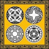Reeks oude Amerikaanse Indische vectorpatronen Stock Afbeeldingen