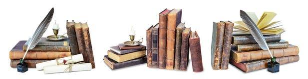 Reeks oude boeken stock afbeeldingen