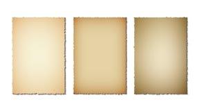 Reeks oude document gescheurde randen Grungetextuur van oud document op witte achtergrond Vector illustratie stock illustratie