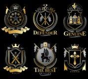 Reeks oude emblemen van de stijlwapenkunde, uitstekende illustraties Royalty-vrije Stock Foto's