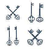 Reeks oude gekruiste sleutelssilhouetten Royalty-vrije Stock Afbeeldingen
