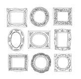 Reeks oude omlijstingen, hand getrokken vectorillustratie Stock Foto's