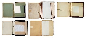 Reeks oude omslagen met stapel documenten stock fotografie