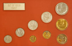 Reeks oude Russische muntstukken stock foto's