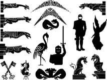 Reeks oude stijl middeleeuwse pictogrammen en symbolen Royalty-vrije Stock Fotografie