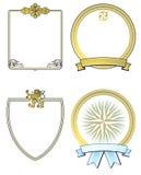 Reeks Overladen Gouden Schilden Royalty-vrije Stock Fotografie