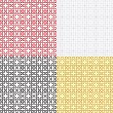 Reeks overladen naadloze patronen, doorweven lijnen, geometrische vormen Royalty-vrije Stock Foto's